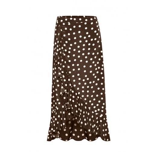 6b708416f781 Berømte karen by Simonsen lang nederdel brun med prikker IT36