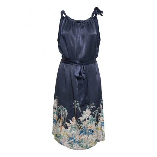 58e45d19bac culture sommerkjole festkjole sort blå print strop